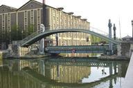 Rue Crimée footbridge and lift bridge crossing the Ourcq Canal in Paris (19th arrondissement)