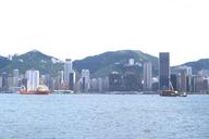 Hong Kong skyline with the Furama Hotel and HSBC Bank under construction.
