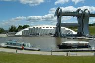 Falkirk Wheel profile including lower basin and visitor centre