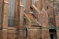 St. Jacob church in Torun, northern elevation of presbitery with sacristy and flying butress