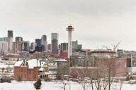 Elitch Gardens Observation Tower, with the downtown Denver skyline in the background.