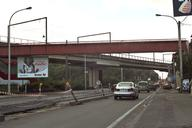 Charleroi Light Rail - viaduct along the N90 at the entrance to Monceau-sur-Sambre and the footbridge to Moulin Station