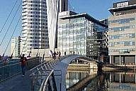 The bridge provides a practical, yet visually stunning, gateway and landmark structure in the centre of the MediaCityUK development.