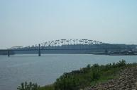 Julien Dubuque Bridge, taken from upstream, Iowa side of Mississippi River, Dubuque, Iowa