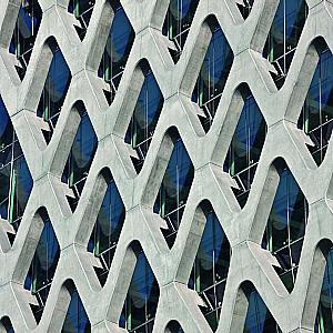 Filigree reinforced concrete net shapes and supports office tower
