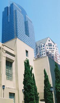 Los Angeles Central Library with Biltmore Tower (right) and Gas Company Tower (left) in the background