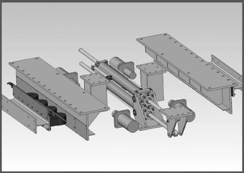 Aufbau des Steuerungssystems unter dem 300-t-Massependel. Seitlich (im Bild vorne links schwarz) die Schwerlastrollen, mittig die beiden semiaktiven Dämpfer, dazwischen die vier Endanschläge