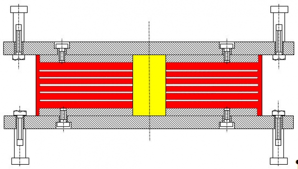 Cross section of a Lead Rubber Bearing : Yellow: vertical lead core, red: horizontal natural rubber washers, which are vulcanized onto steel sheets (white) in layers.