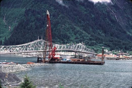 Juneau-Douglas Bridge : Construction begins on the replacement bridge for the cantilever truss bridge.