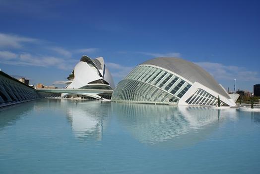 City of Arts and Sciences in Valencia : L'Hemisfèric & Puente de Monteolivete & Palau de les Arts Reina Sofía