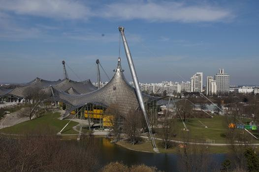 Olympic Summer Games 1972 – Olympiapark – Roof over the buildings of the Olympic Park – Olympia-Schwimmhalle