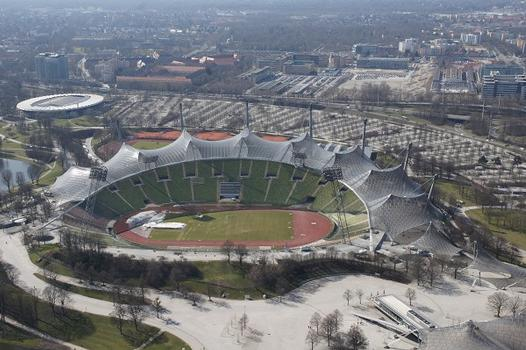 Olympic Summer Games 1972 – Olympiapark – Roof over the buildings of the Olympic Park – Munich Olympic Stadium