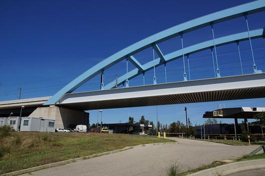 Bridge over the A7 Toll Gate at Bonpas