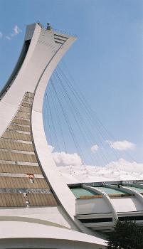 Tour de Montréal, Montéal, Québec.  Cables supporting the fabric roof of the Olympic Stadium.