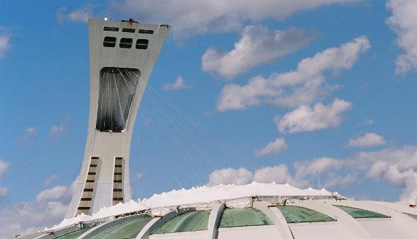 Roof of the Olympic Stadium suspended from the tower, Montéal, Québec.