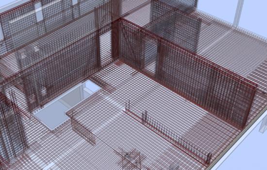 Isometrie Bewehrungsführung Abfangkonstruktion Wohnhaus 1 über der Fahrgasse zur Tiefgarage