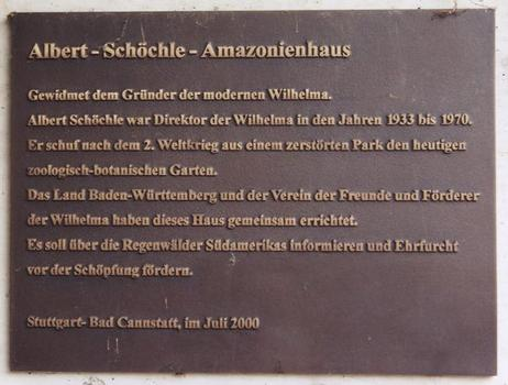 Tropical Pavilion at the Wilhelma Zoo in Stuttgart. Commemorative plaque.