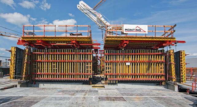 With the customized VARIO GT 24 girder formwork, the construction team achieved the required, high-quality surfaces of partly elliptical core walls.