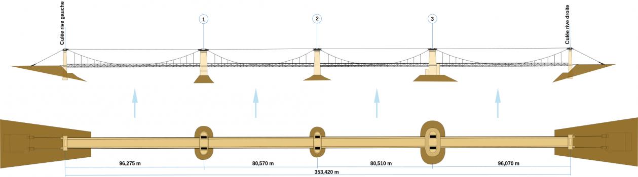 Élévation et plan du pont de Châteauneuf-sur-Loire