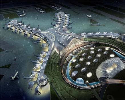 Mit seiner außergewöhnlichen Form wird der neue Flughafenterminal ein prominentes Wahrzeichen in Abu Dhabi werden.  : Mit seiner außergewöhnlichen Form wird der neue Flughafenterminal ein prominentes Wahrzeichen in Abu Dhabi werden.