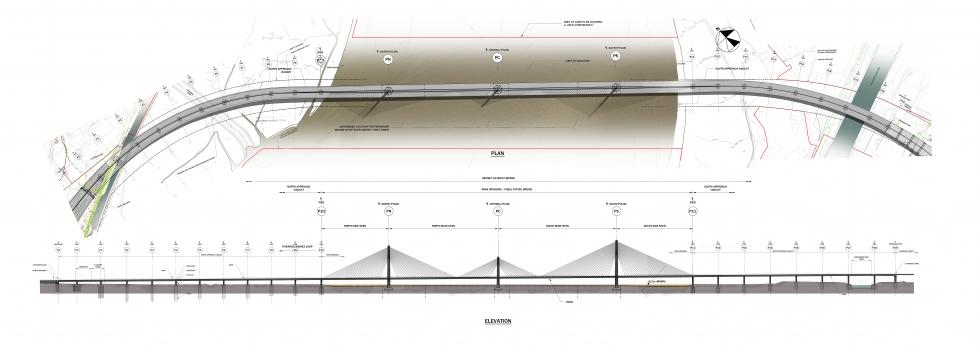 Mersey Gateway Bridge: Drauf- und Ansicht:Draufsicht und Ansicht der gesamten Brücke inklusive Vorland- und Strombrücken.