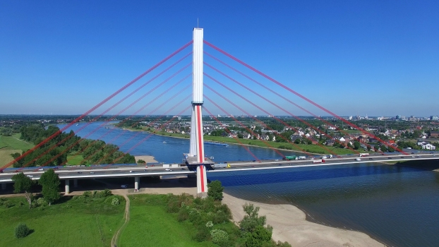 Scaffolding on the concrete pylon of the Flehe Bridge in Düsseldorf necessary for concrete repairs