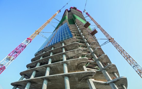 The 44 storeys elegantly wind their way upwards from the ground.
