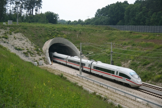 An ICE 3 high-speed train leaves the south exit of the Göggelsbuch Tunnel, Nuremberg–Ingolstadt high-speed railway line, headed for Munich