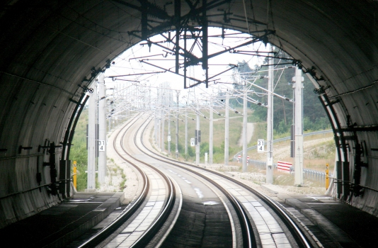 A view from a southbound train at the south portal of the Göggelsbuch Tunnel, Nuremberg-Ingolstadt high-speed railway line