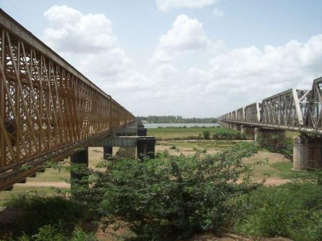 Golden Bridge (road) and Silver Jubilee Bridge (rail) at Bharuch, India