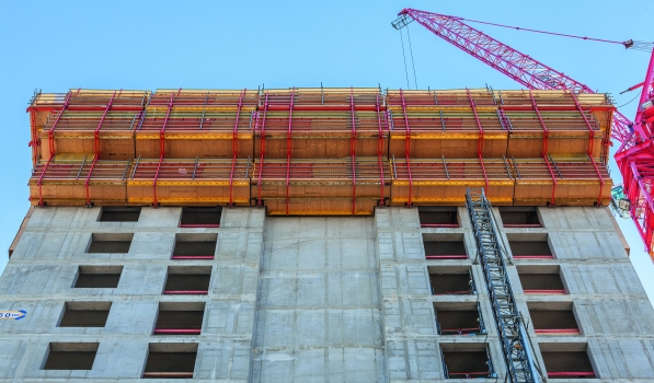 RCS and TRIO formed rail-guided climbing formwork units for the re-created north side of the former grain storage silo.