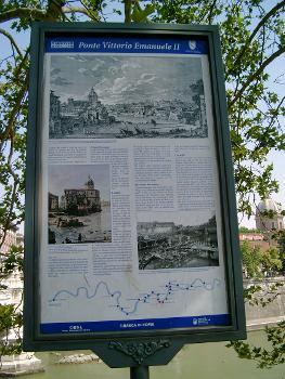 Ponte Vittorio Emmanuel II, Rome.Information plaque