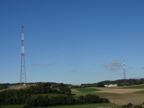 Sottens Radio Station: main tower to the left and reserve tower & buildings on the right