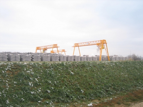 Storage of the precast tubbing elements to be installed in the Albvorland Tunnel