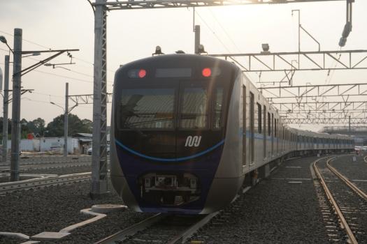 MRT Jakarta rolling stock from Nippon Sharyo on trial run in Lebak Bulus Depot