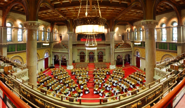 New York State Assembly : Chamber of the New York State Assembly, the lower house of the New York State Legislature, located in the New York State Capitol in Albany, New York, United States.