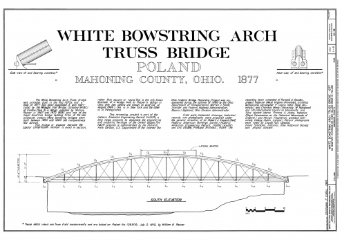 White Bowstring Arch Truss Bridge: Plans