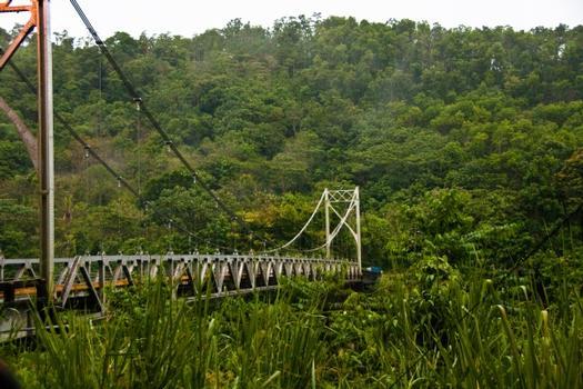 Puente colgante sobre el río Peñas Blancas