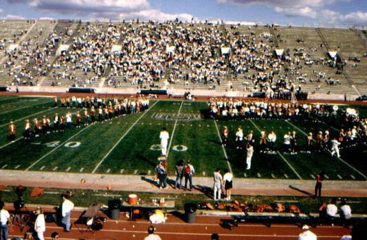 Halftime show at a Princeton-Harvard Football Game in the old Palmer Stadium at Princeton University