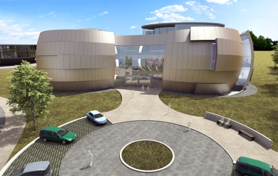The ESO Supernova Planetarium & Visitor Centre, being built in Garching next to the ESO Headquarters, will offer its visitors a contemporary, interactive exhibition on modern astronomy, as well as the possibility to enjoy digital full-dome planetarium shows and guided tours.  This first rendering from 2013 shows the front of the building, as visitors will see it when they first arrive at the ESO Headquarters in Garching. The two main structural elements contain a large empty cylindrical room — the Void — suitable for temporary exhibitions, and a modern digital planetarium. Both are connected by a long, winding path, which contains the exhibition area of the building.  To the left, in the background, the rendering shows a part of the new extension of the ESO Headquarters.