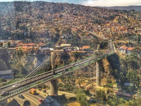 Puentes Trillizos (Triplet Bridges) in the city of La Paz, Bolivia.  Puente Libertad - Puente Unión - Puente Independencia