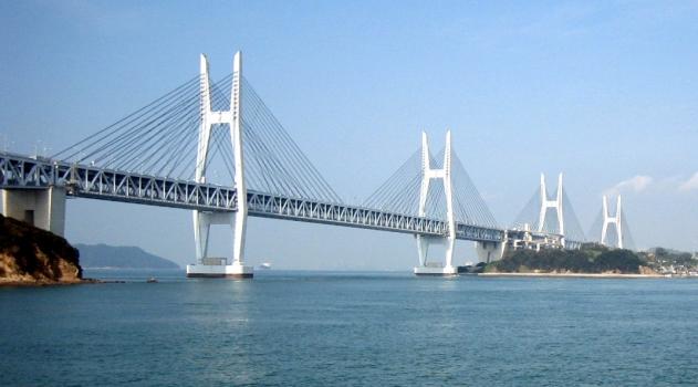 Iwakurojima Bridge (near) and Hitsuishijima Bridge (far)