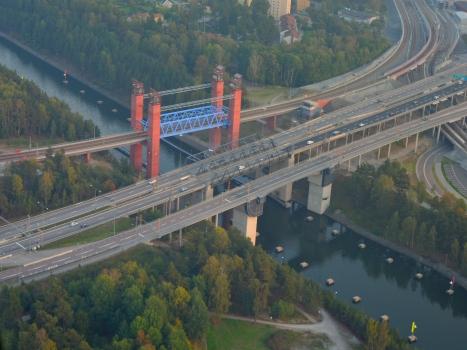 Bridges across the Södertälje Canal (from left to right): vertical lift rail bridge, twin vertical lift motorway bridges for the E4 and bascule road bridge