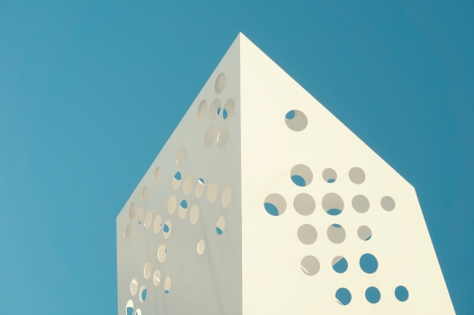 Swiss Cheese Architecture : Unique design on a white building with holes in Denmark  Observation tower at Aarhus Ø, Aarhus