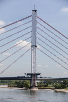 Scaffolding on the concrete pylon of the Flehe Bridge in Düsseldorf necessary for concrete repairs