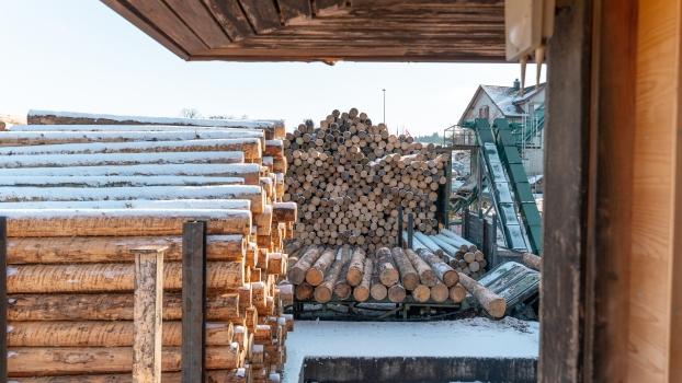 Urbach TowerSpruce wood logs at Lehamman Holzwerk AG