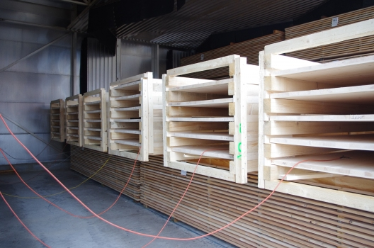 Flat wood bilayers in drying kilm at Lehamman Holzwerk AG