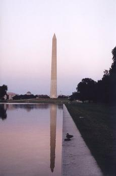 Washingtom Monument seen from the Lincoln Monument with reflection in the Reflection Pool
