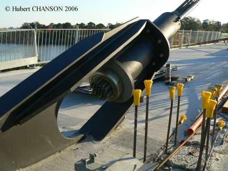 Eleanor Schonell Bridge, Brisbane. Cable «dead» anchor near the right bank on 15 Aug. 2006