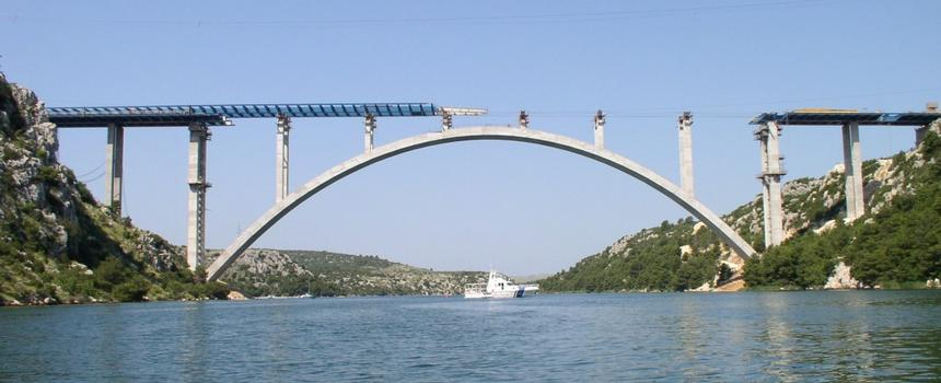 Krka River Bridge, Croatia.